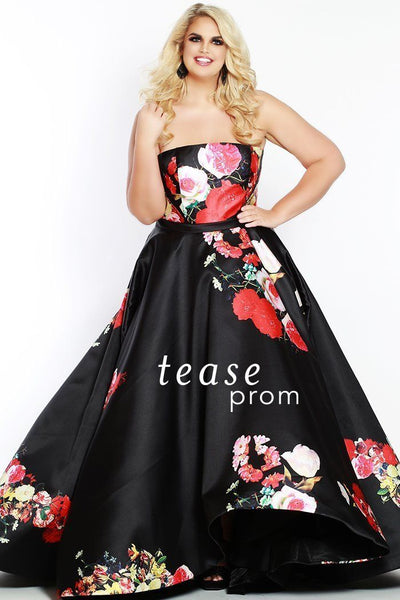 TE1822 is a Mikado black satin gown with floral print.  It can be worn strapless and includes optional bra-friendly straps. With a full A-line silhouette and skirt