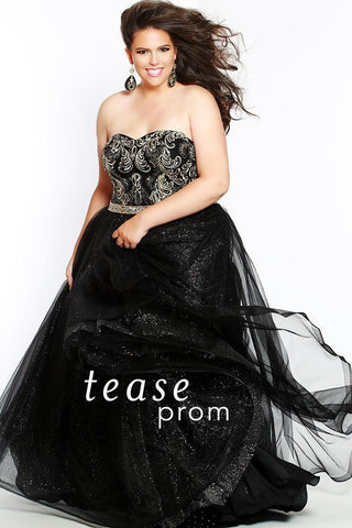 TE1801 in black has a sweetheart, strapless neckline with gold embroidered bodice with sequins. The gown is fully lined, and finished off with a horsehair hemline