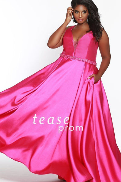 TE1838 in raspberry is a Mikado satin floor length dress with a V-neck bodice and center back zipper
