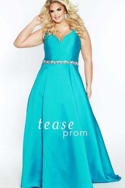 TE1828 in turquoise is a Mikado satin A-line silhouette dress, which has a V-neckline, V-shaped bodice and V-back