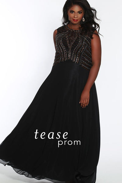TE1815 in black/metallic is a chiffon dress has a scoop neckline atop a modified A-line silhouette design. Its heavily metallic beaded, modified empire bodice