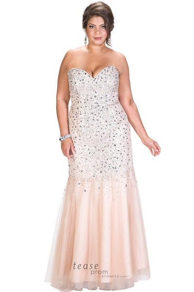TE1620 heavily beaded plus size champagne colored mermaid gown
