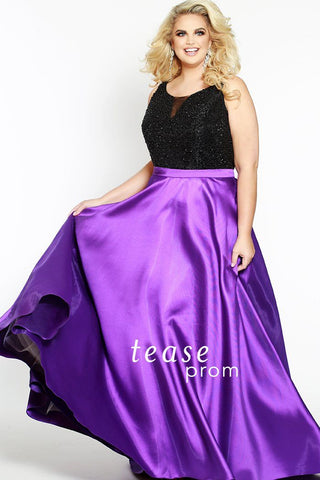 TE1701 in purple with scoop neck bodice covered in black beads and mikado satin belt shows off your waist and flows into a dramatic full A-line ball skirt