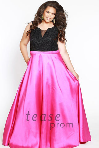 TE1701 in raspberry pink with scoop neck bodice covered in black beads and mikado satin belt shows off your waist and flows into a dramatic full A-line ball skirt