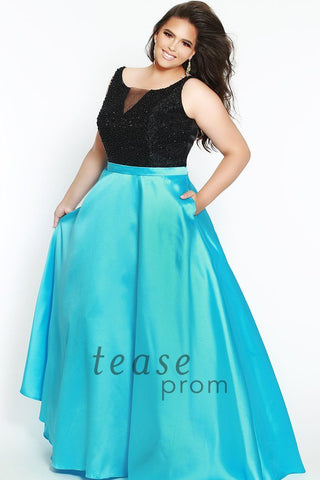 TE1701 in sky blue with scoop neck bodice covered in black beads and mikado satin belt shows off your waist and flows into a dramatic full A-line ball skirt