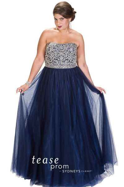 TE1704 navy with hand beaded bodice with matching beaded waistband slims your curves. Layers and layers of tulle create a ball gown skirt