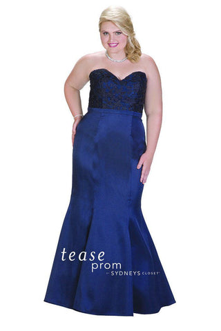 TE 1708 Sleek Mermaid design with strapless lace beaded bodice that flows into sexy fit and flare skirt. Striking Navy blue color.