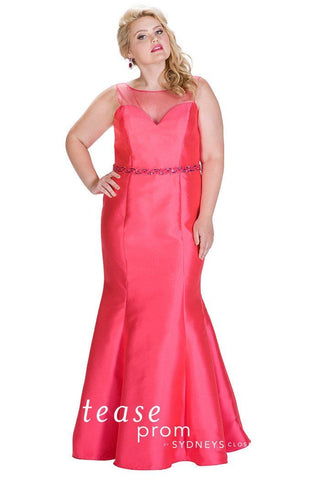 TE 1711 Mermaid dress that highlights your fab curves in all the right places. Deep pink satin takes on a fuchsia tone. Simple, sleek silhouette accented with beaded belt highlights your waistline