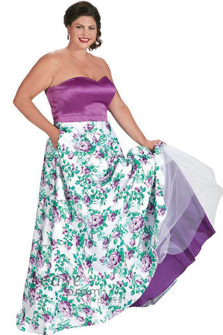 TE 1712 in purple has a trendy flower print splashed on full A-line satin skirt. Solid strapless bodice picks up accent color in floral pattern. Pockets you will love on each side at the hip.