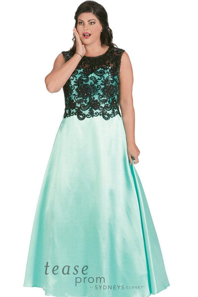 TE1713 in mint has a black lace illusion bodice with an A-line Mikado satin skirt