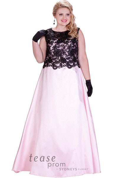 TE1713 in pink has a black lace illusion bodice with an A-line satin skirt