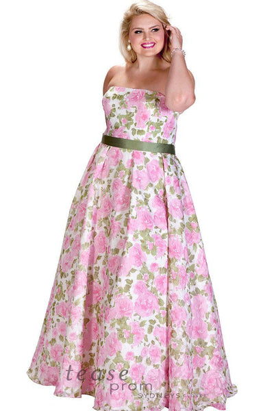 TE1715 has pink and green flowers on strapless bodice, slimming A-line skirt
