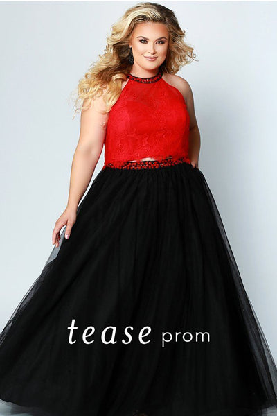 TE1717 plus size two piece lace top with beaded halter neckline and tulle black skirt with beaded belt.