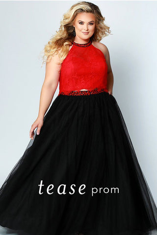 TE1717 plus size two piece red lace top with beaded halter neckline and tulle black skirt with beaded belt.