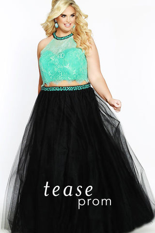 TE1717 plus size two piece aqua lace top with beaded halter neckline and tulle black skirt with beaded belt.