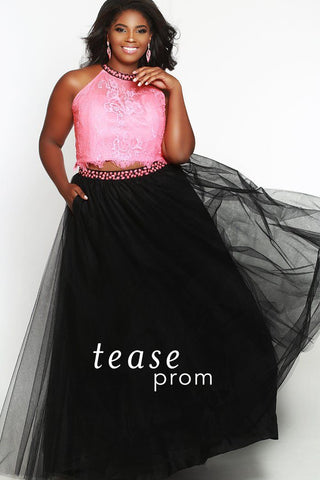 TE1717 plus size two piece melon pink lace top with beaded halter neckline and tulle black skirt with beaded belt.