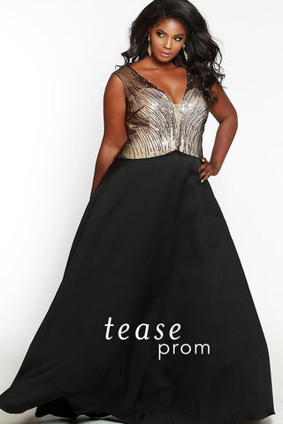 TE1718 has illusion net on plunging V-neckline. Bodice embellished with a vertical pattern of gold and black beads. Mikado satin full A-line skirt with deep pockets