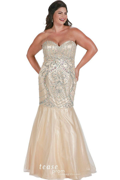 TE1719 in gold is a mermaid style plus size gown drenched in swirls of gorgeous beads and stones, hugs your curves then flares into tulle skirt.
