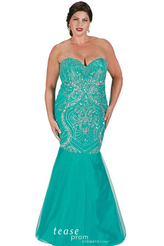 TE1719 in teal green is a mermaid style plus size gown drenched in swirls of gorgeous beads and stones, hugs your curves then flares into tulle skirt.