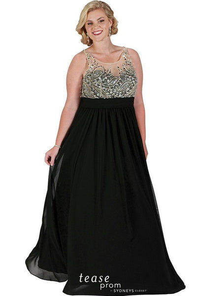TE1721 in black with a beaded bodice and scoop neckline flowing A-line chiffon skirt