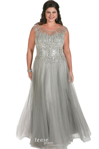 TE1725 gunmetal gray has a hand-beaded design in soft waves create a slimming pattern on the bodice layered tulle A-line skirt and beading continues on illusion back.