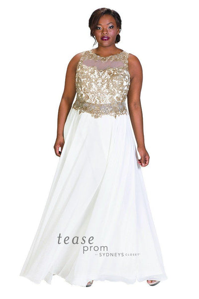 TE1726 in white has gold metallic beading on the bodice with a chiffon A-line skirt