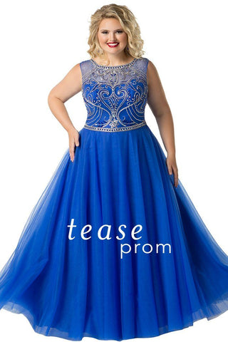 TE1810 in royal is a floor-length, ballgown silhouette dress made of tulle fabric, this gown has a scoop neckline and sweetheart bodice with a natural waist line