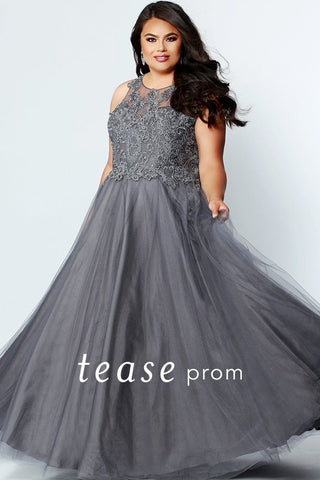 TE1823 plus size prom ball gown with floral lace detailed bodice