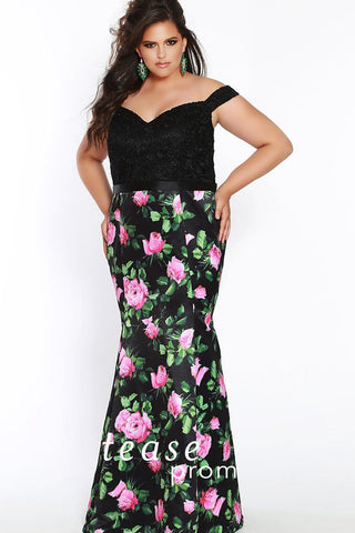 TE1831  is a black and floral pattern off the shoulder fit and flare dress with a sweetheart neckline