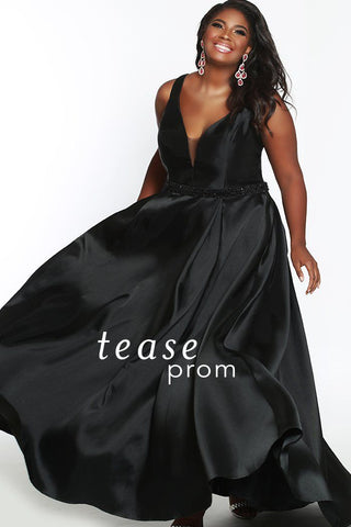 TE1838 in black is a Mikado satin floor length dress with a V-neck bodice and center back zipper