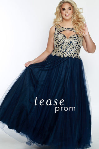 TE1840 in navy is sleeveless, and has a keyhole neckline with a sweetheart-style bodice that has embroidered lace appliques. Its A-line tulle ball gown skirt is fully lined and a center-back zipper.