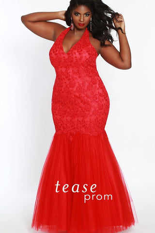 TE1841 in red is a mermaid style dress with lace and tone on tone beading with a tulle skirt for the floor