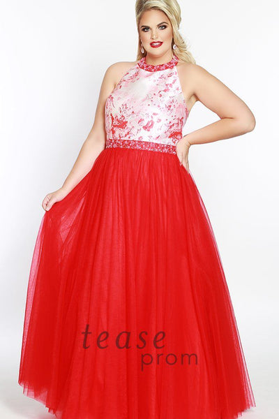 TE1843 in red floral has a halter neckline and straps with beading around the neck. The dress is fully lined, and is created with a solid skirt, natural waistline and center-back zipper