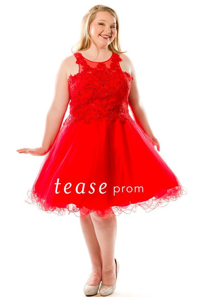 TE1846 in red is a short dress with full tulle skirt, scoop neckline and lace bodice with gemstones.