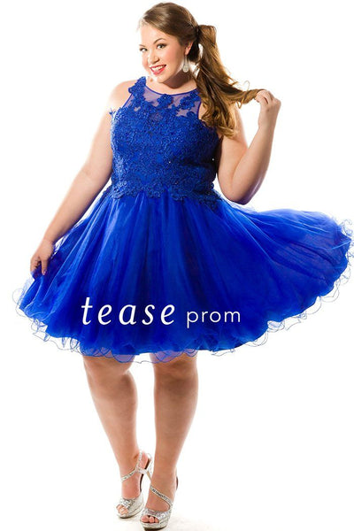 TE1846 is a royal blue short dress with full tulle skirt, scoop neckline and lace bodice with gemstones.