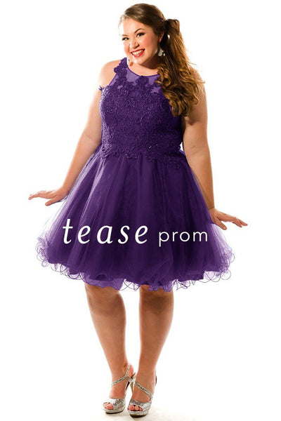 TE1846 in purple is a short dress with full tulle skirt, scoop neckline and lace bodice with gemstones.