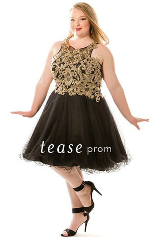 TE1847 is a short dress with a black full tulle skirt and embroidered gold bodice.
