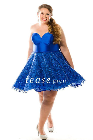 TE1848 short dress in sapphire blue with a strapless bodice, full skirt and lace-up back.