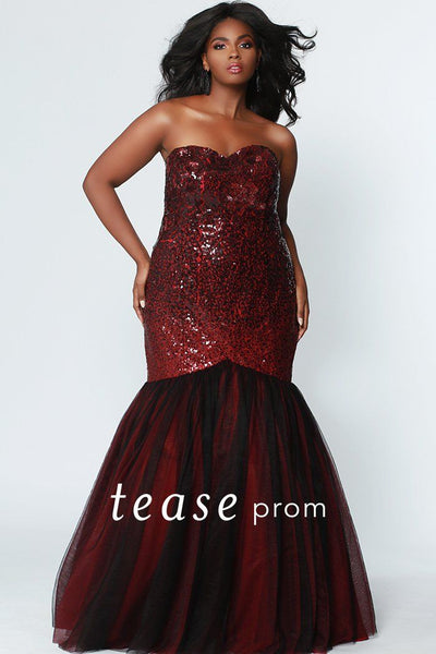 TE1901 in burgundy and black ombre sequin plus size strapless mermaid prom dress with lace-up back