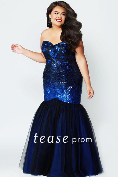 TE1901 in royal and black ombre sequin plus size strapless mermaid prom dress with laceup back