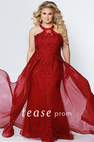 TE1904 sexy plus size prom gown in burgundy or navy with lace applique bodice, sheath skirt and organza flyaway skirt