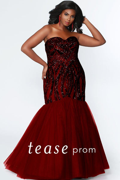 TE1905 in burgundy red or navy blue; fit and flare strapless prom gown with sequined design and flared tulle skirt; laceup back and modesty panel included