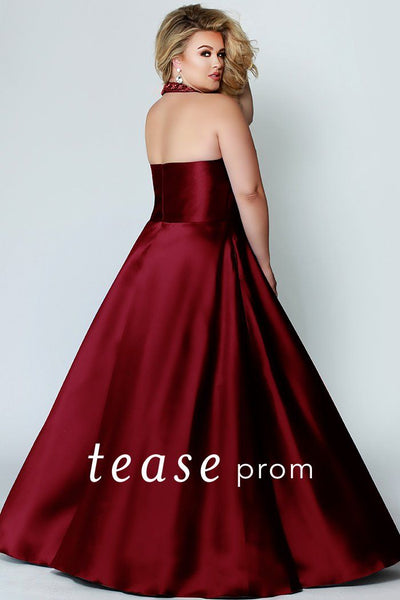 TE1907 plus size elegant halter prom gown with beaded neckline and keyhole cutout; black, burgundy, red or royal