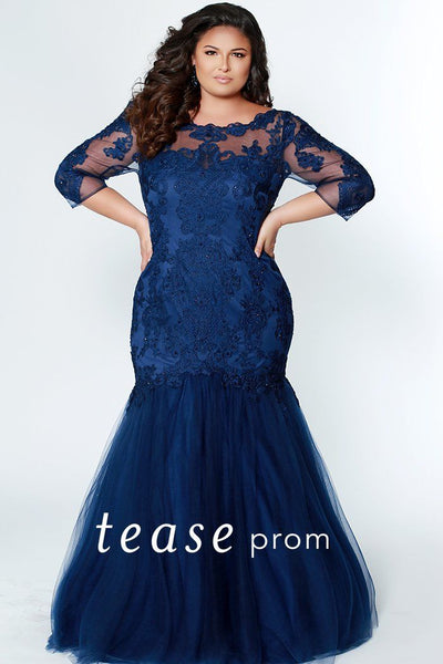 TE1908 navy blue plus size fitted mermaid gown with sleeves