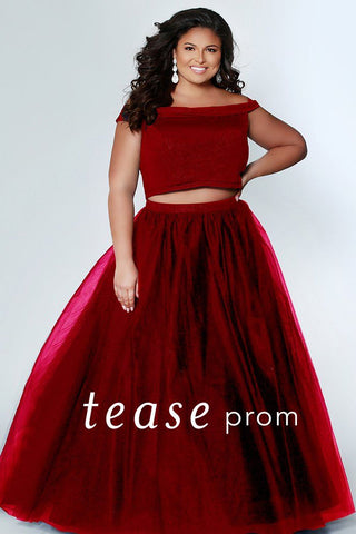 TE1909 in red or blue two piece plus size prom dress with off-the-shoulder crop top bodice and tulle skirt with shimmer fabric