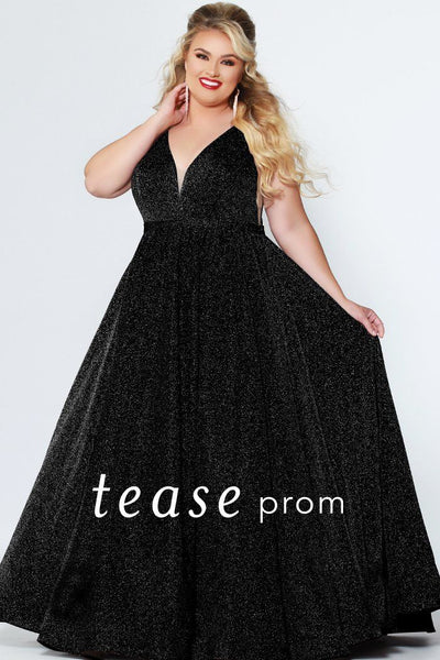 TE1910 shimmer fabric plus size prom gown with bra-friendly straps, pockets and sexy deep v-neckline; zipper back and pleated shimmer fabric skirt. Colors available: red, black, prism or peacock.