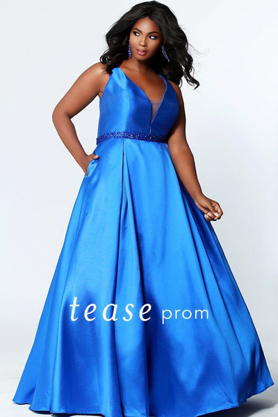 TE1912 plus size prom dress, simple and elegant in four fabulous colors; bra-friendly straps, v-neckline with mesh insert, self-beaded belt, full a-line skirt with pockets