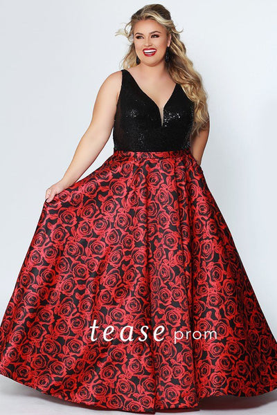 TE1914 floral plus size prom dress; black sequin bra-friendly straps and bodice; self fabric belt, full a-line skirt in red and black floral with pockets