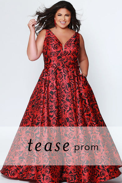 TE1915 floral plus size prom dress; red/black floral satin bra-friendly straps and bodice; self fabric belt, full a-line skirt in red/black floral pattern satin with pockets