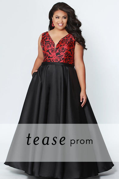 TE1916 floral plus size prom dress; red floral satin bra-friendly straps and bodice; self fabric belt, full a-line skirt in black satin with pockets